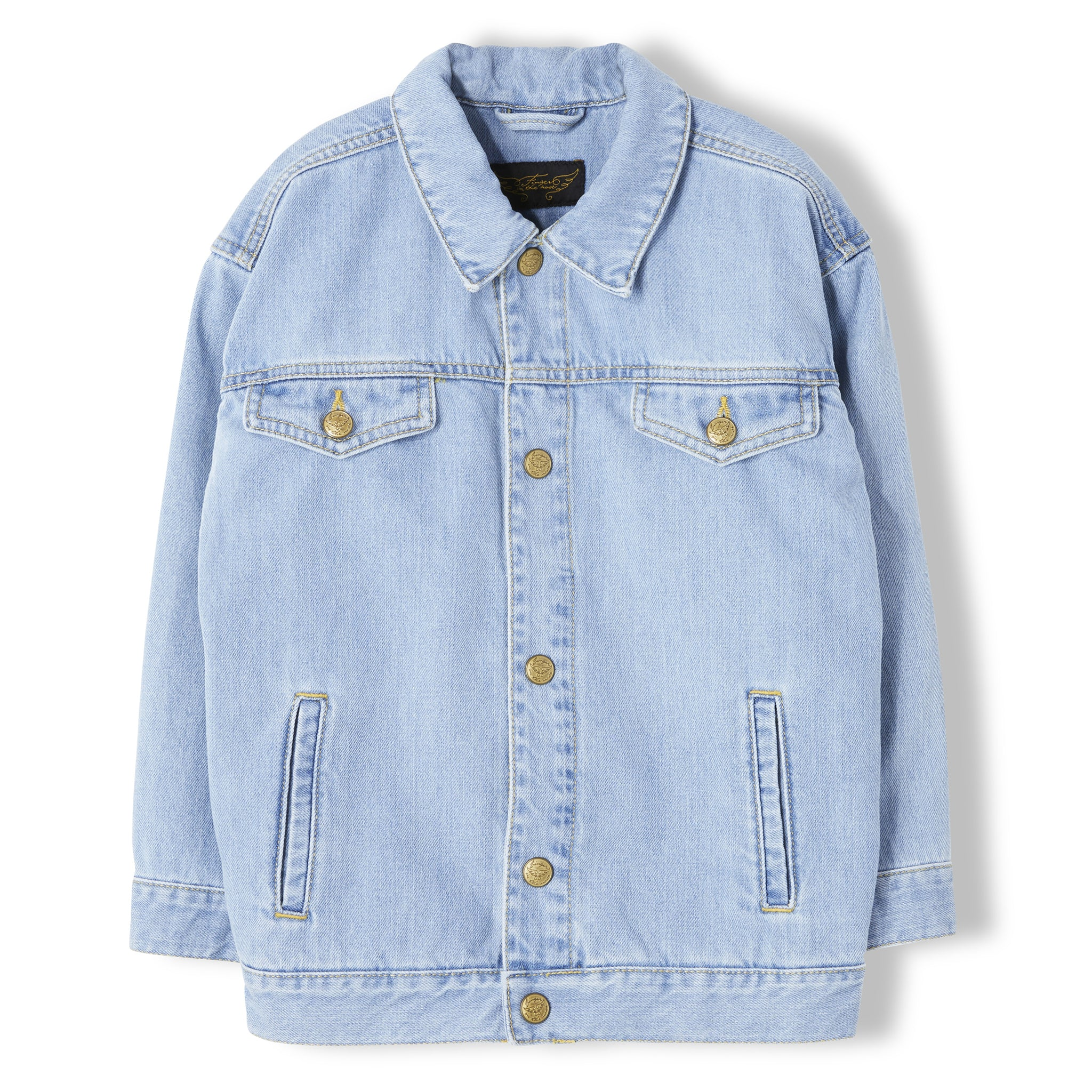 ROAD Bleached Blue - Girl Woven Denim Oversized Jacket 1