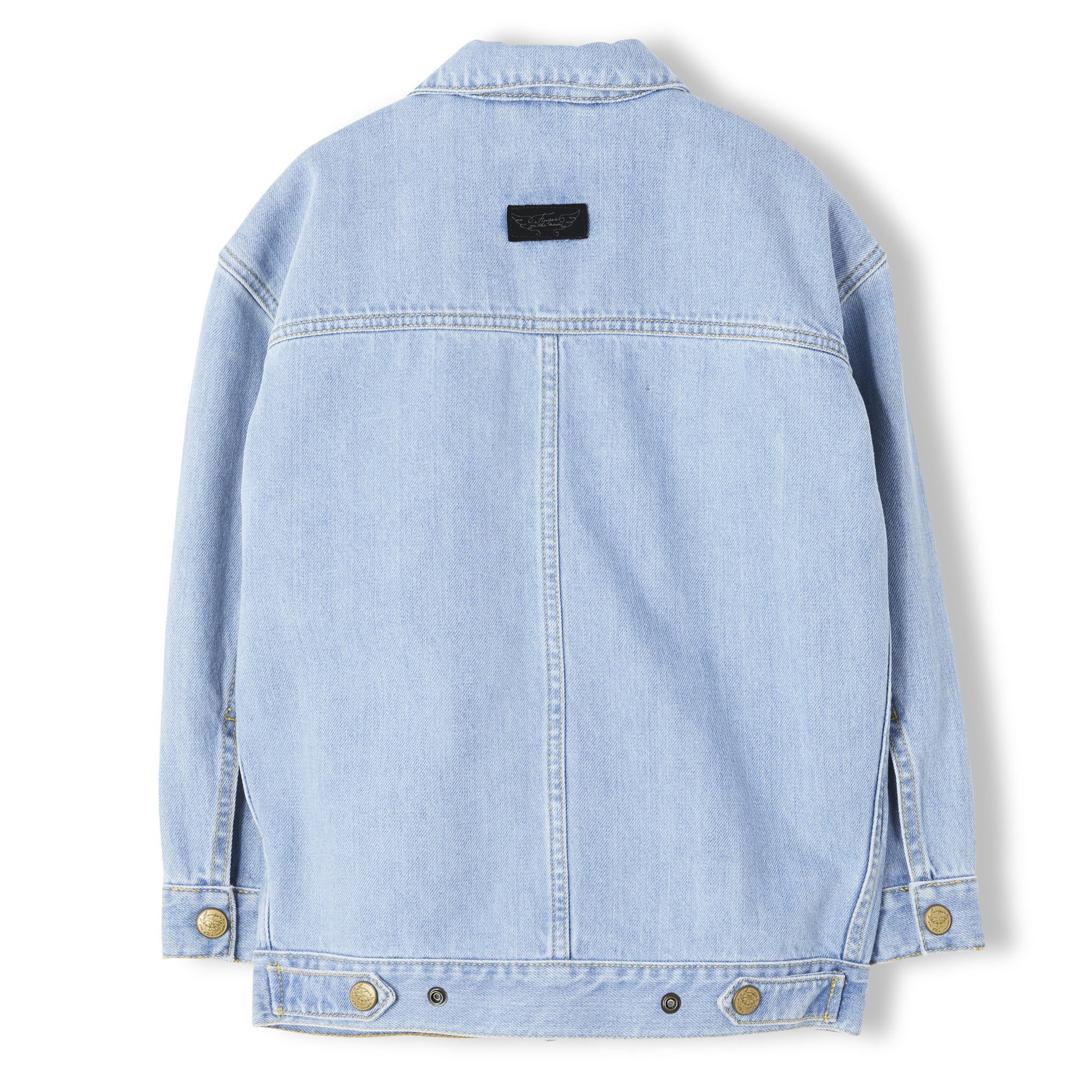 ROAD Bleached Blue - Girl Woven Denim Oversized Jacket 2