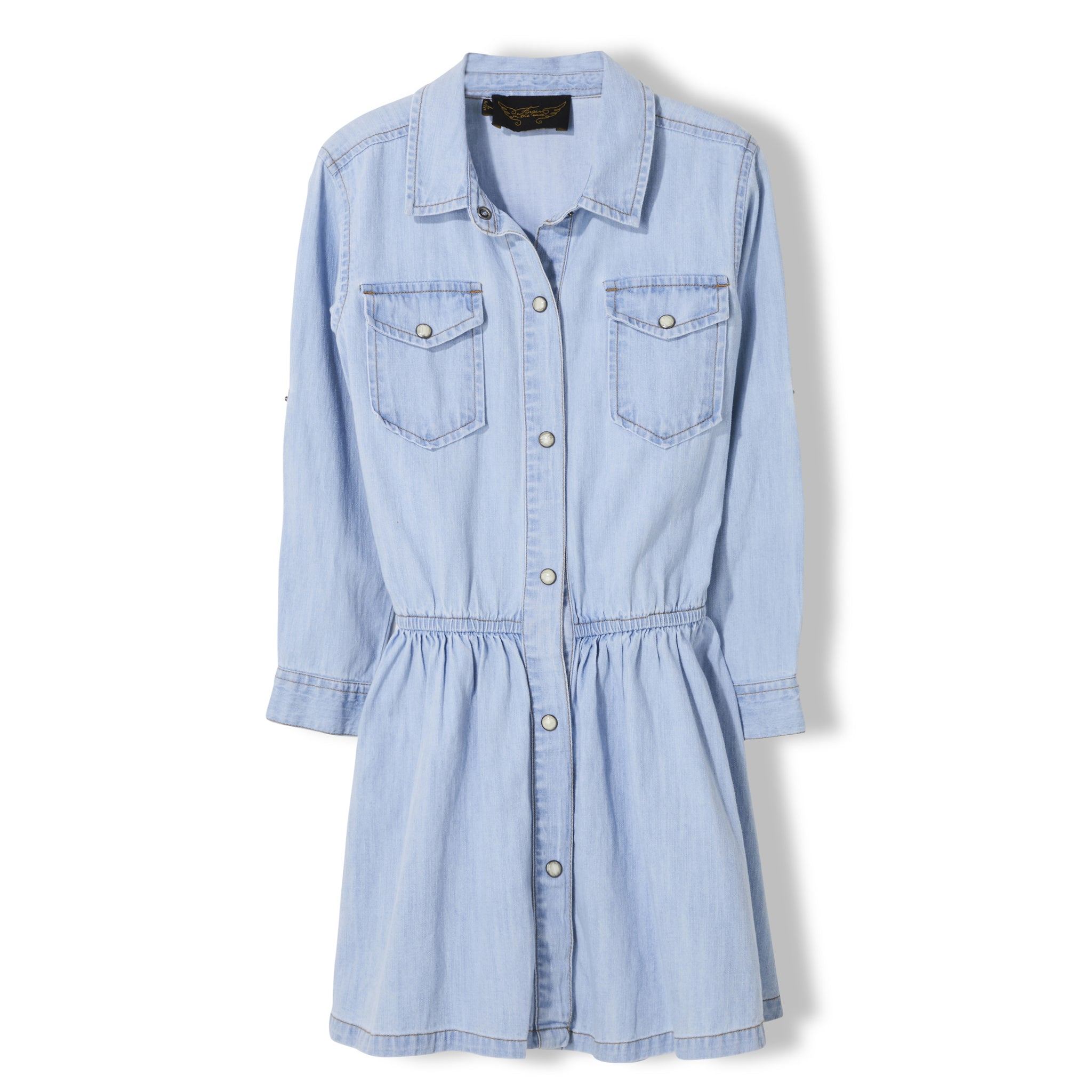 ROSEVILLE Bleached Blue - Girl Woven Long Sleeve Dress 1