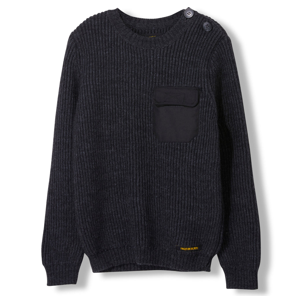 RUDY Dark Heather Grey -  Heavy Knitted Round Neck Jumper 1