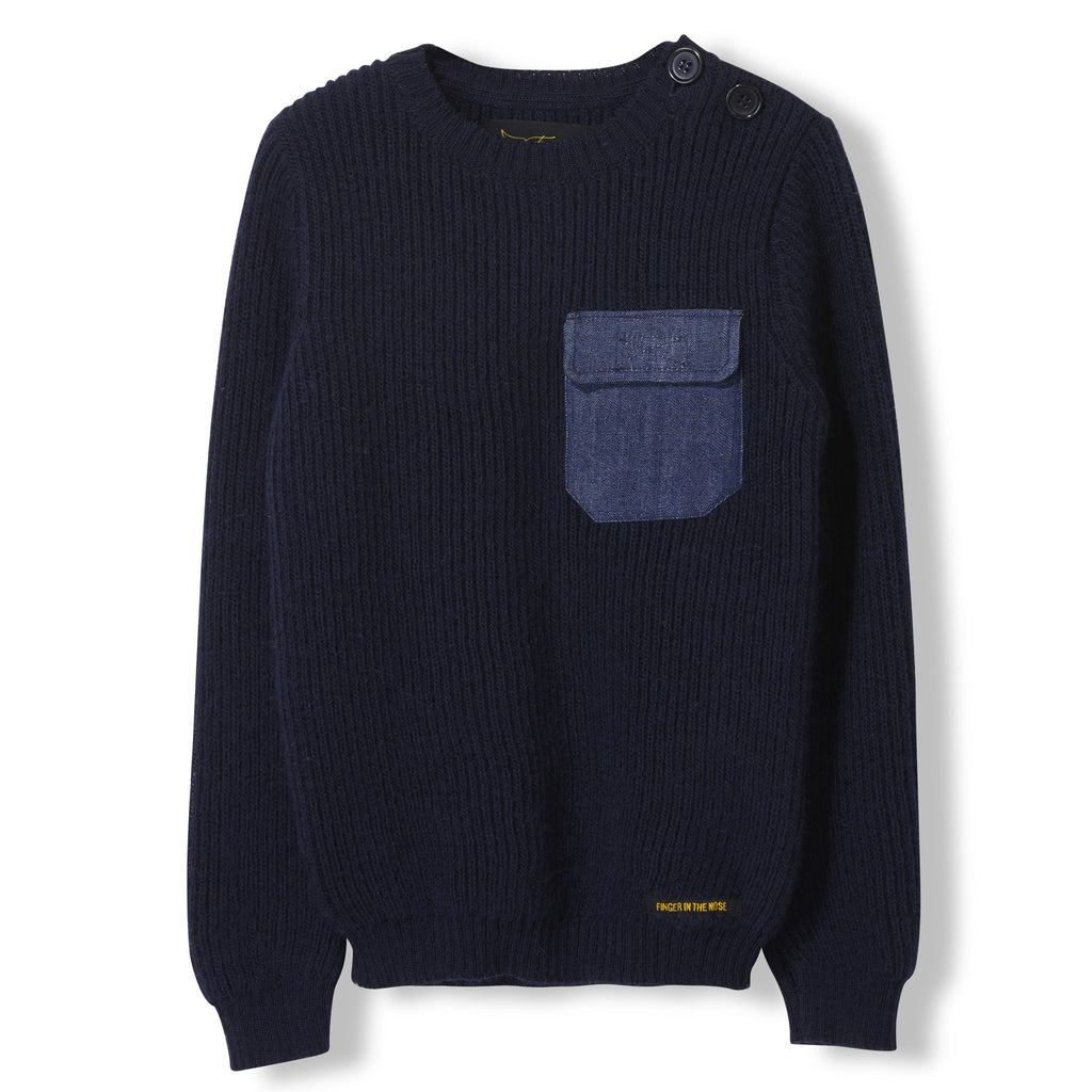 RUDY Slate Blue - Boys Knitted Round Neck Jumper