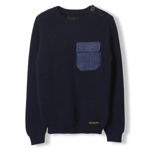 RUDY Slate Blue -  Heavy Knitted Round Neck Jumper 1