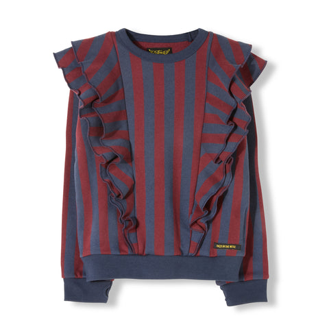 SHIBUYA Burgundy Stripes -  Knitted Crew Neck Sweatshirt