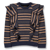 SHIBUYA Linen Stripes - Crew Neck Ruffled Sweatshirt
