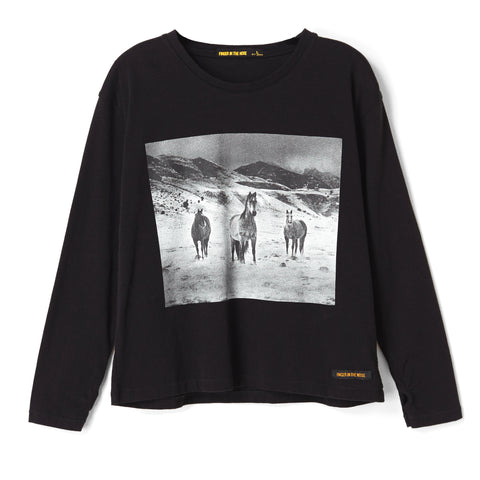 SHINE Black Wild Horses - Loose Fit Long Sleeves t-shirt