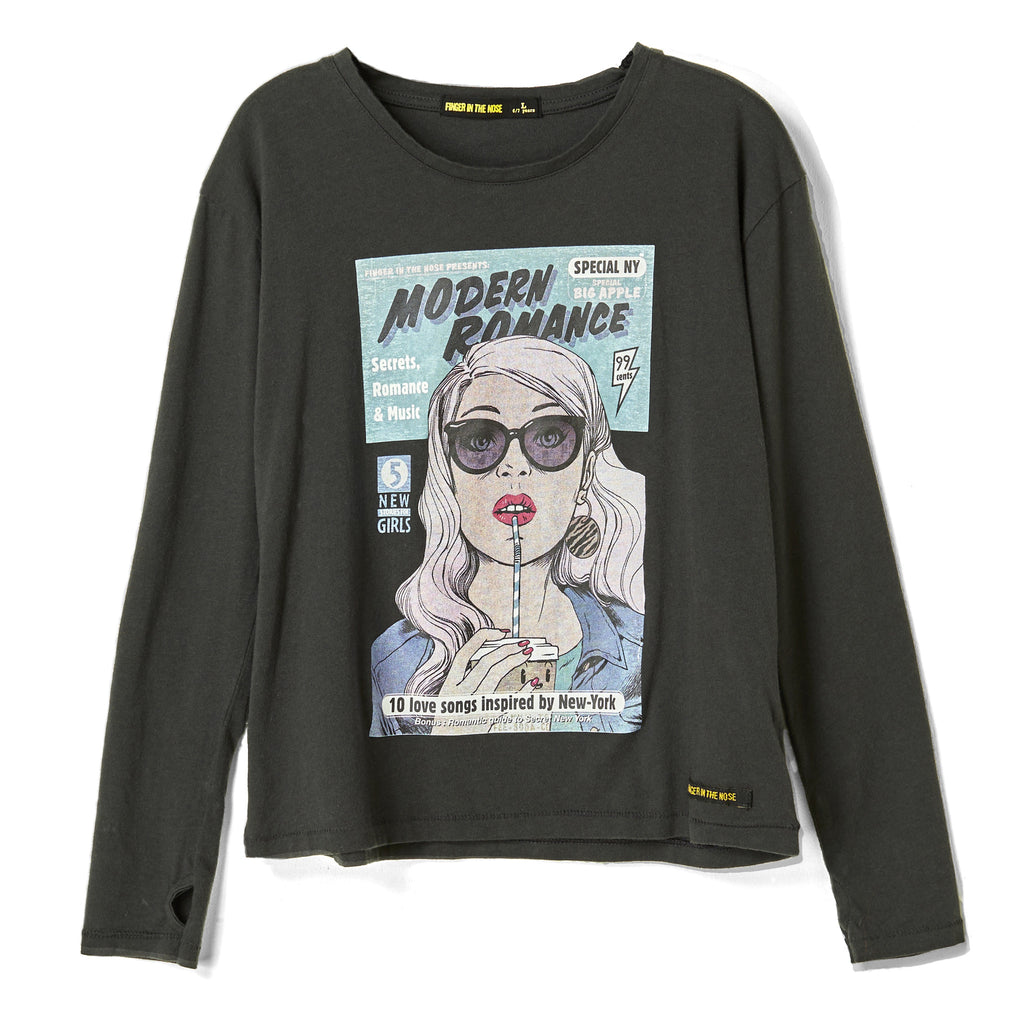 SHINE Coal Comic Strip - Loose Fit Long Sleeves t-shirt