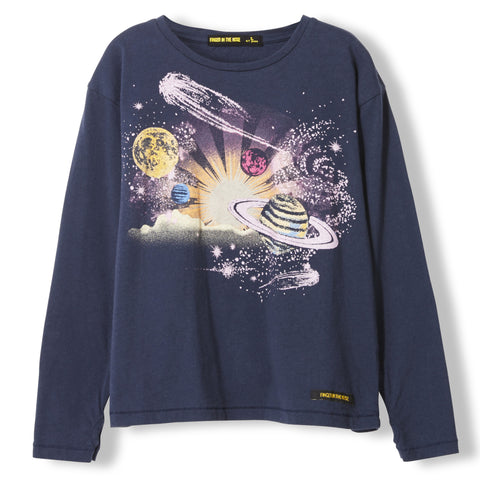 SHINE Night Blue Planets -  Knitted Long Sleeve Jersey T-shirt  1