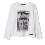 SHINE White Comic Strip - Loose Fit Long Sleeves t-shirt