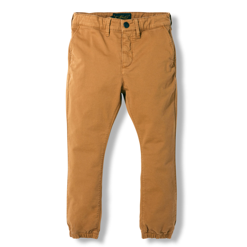 SKATER Caramel -  Woven Elasticed Bottom Chino Fit Pants 1