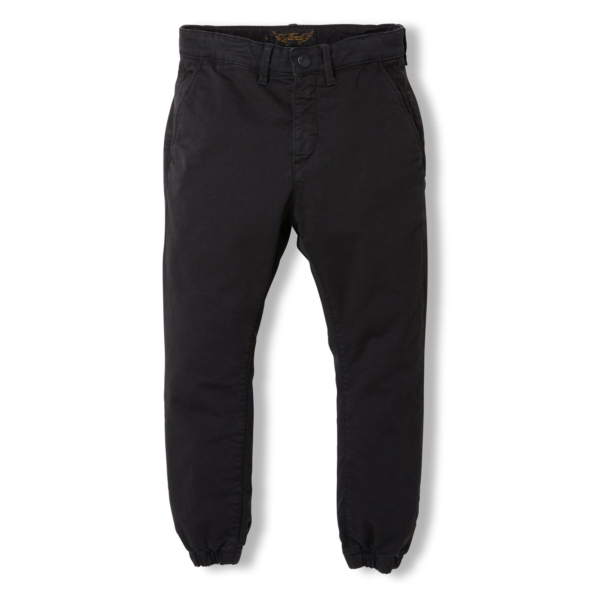 SKATER Summer Black -  Woven Elasticed Bottom Chino Fit Pants 1