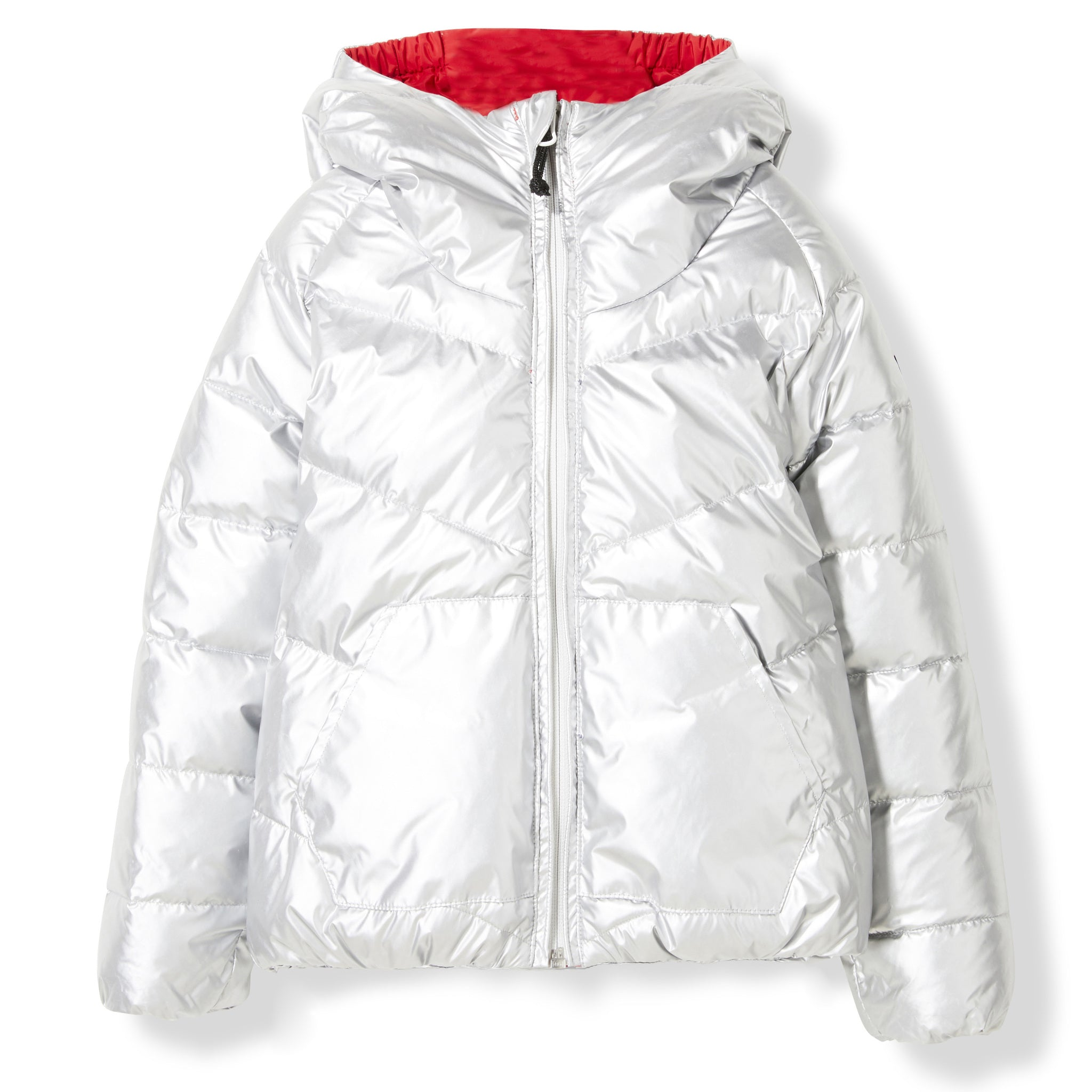 SNOWDANCE Silver Colorblock -  Woven Reversible Down Jacket 2