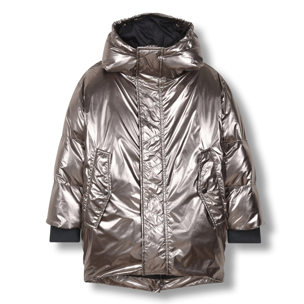 SNOWDOLL Silver -Oversized Down Coat 1