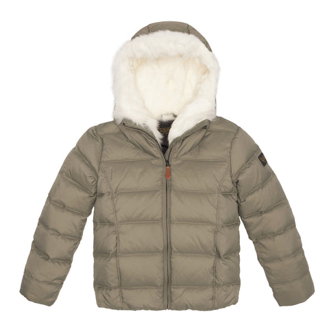 SNOWSKY Green Grey - Girls' Down Jacket With Real Fur