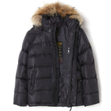 SNOWSLOPE PREMIUM Black - Down Jacket with Real Fur Hood