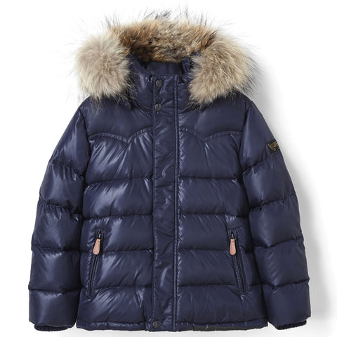 SNOWSLOPE PREMIUM Navy - Down Jacket with Real Fur Hood