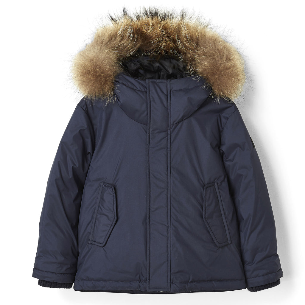 SNOWTRIP Navy - Down Jacket with Real Fur Hood