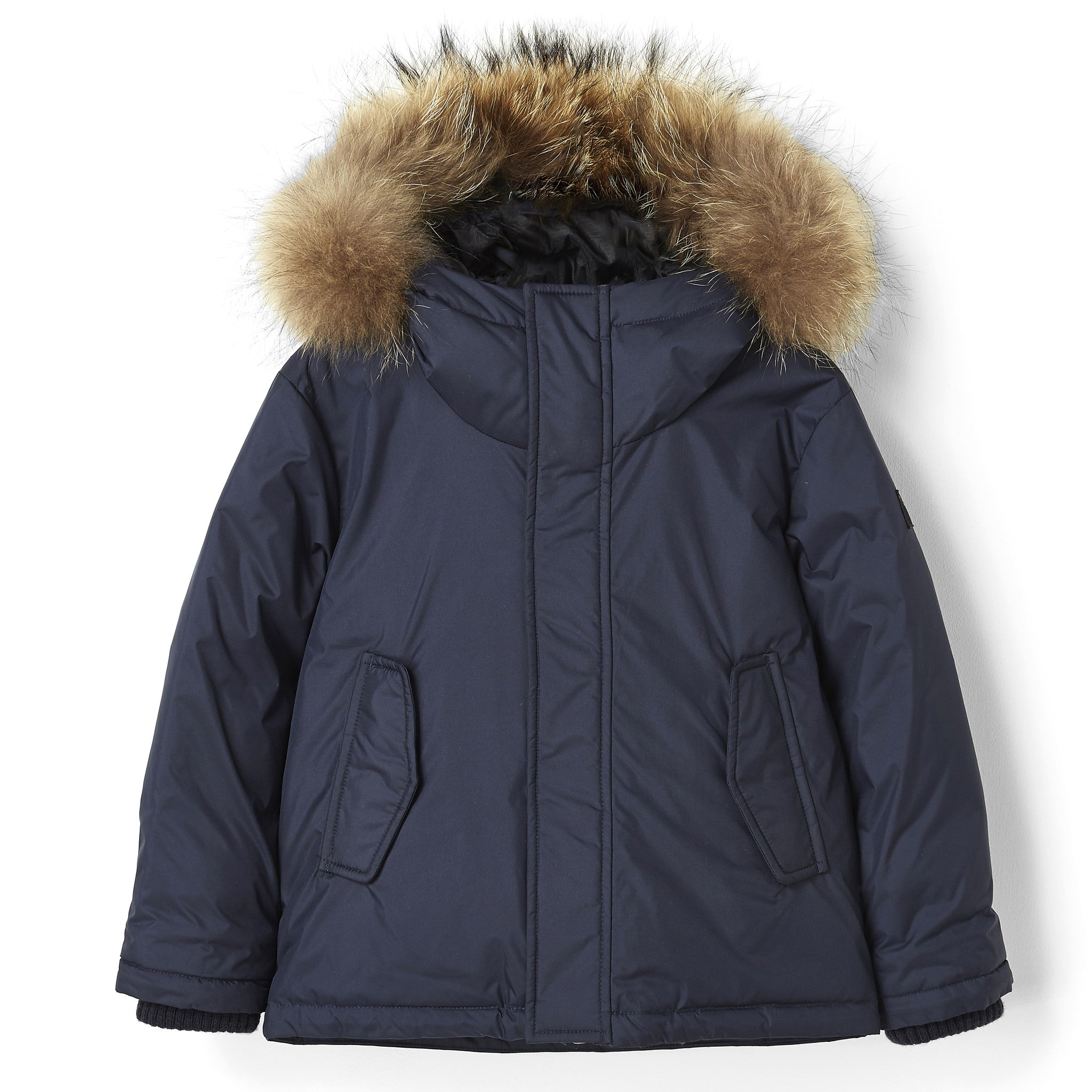 SNOWTRIP Navy - Down Jacket with Real Fur Hood – Finger in the nose