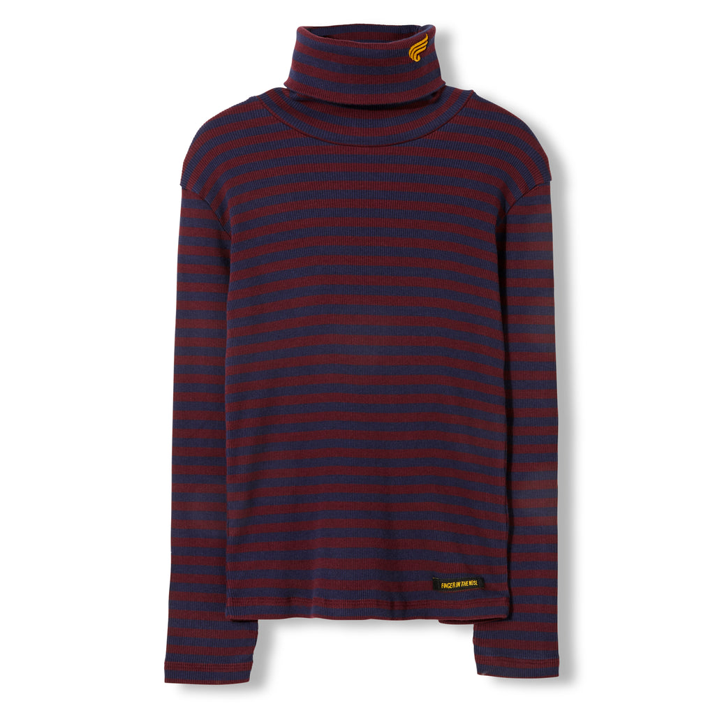 SPY Burgundy Stripes -  Knitted Turtleneck T-Shirt 1