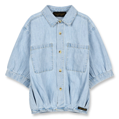 58865c74c SWELL Bleached Blue - Oversized Short Sleeve Shirt 1