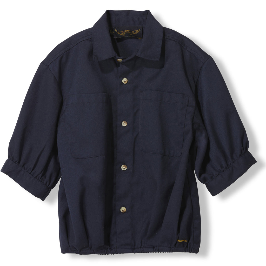 SWELL Night Blue -  Woven Oversized Short Sleeve Shirt 1