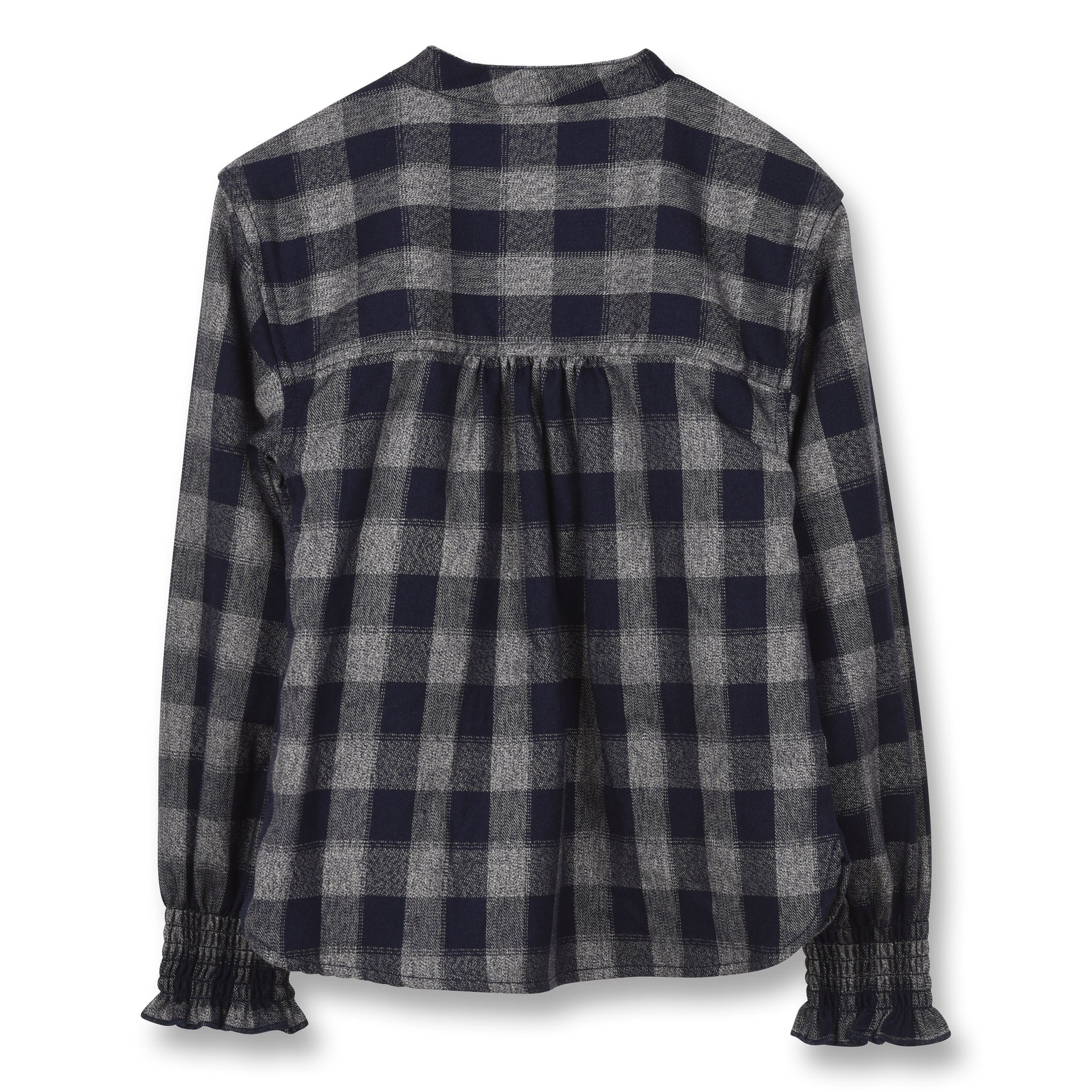 SWINDLE Sailor Blue Checker - Long Sleeves Blouse With Ruffles 2