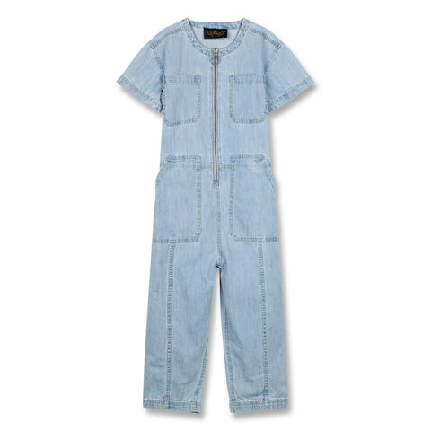 TERRI Bleached Blue - Short Sleeve Overall 1