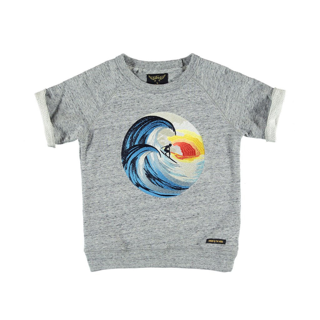 TRITON Heather Grey Surfer - Boy Short Sleeves Crew Neck Sweashirt