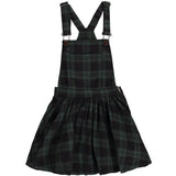 TROUBLE Forest Green Checks - Girls Overall Dress