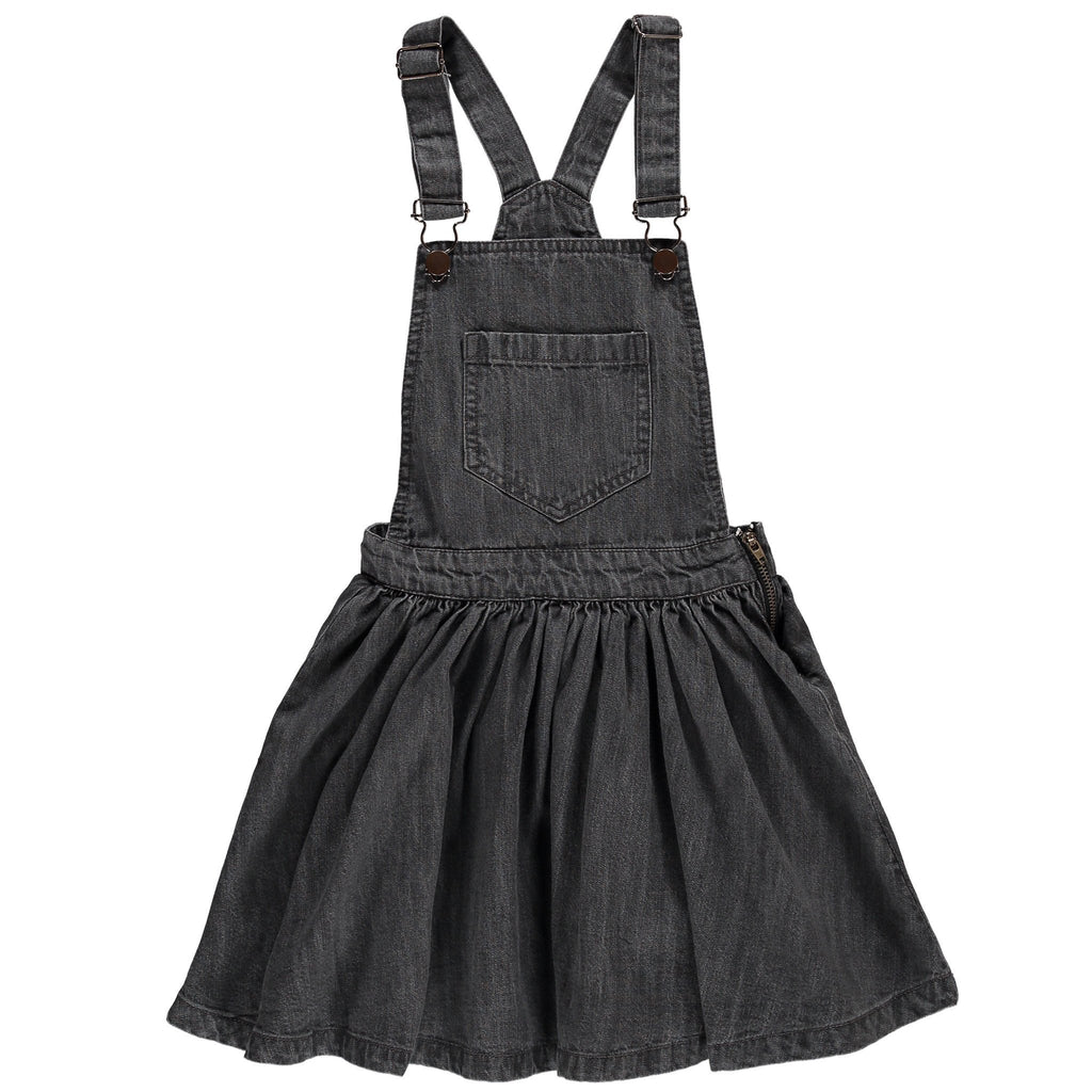 TROUBLE Grey Denim - Girls Woven Overall Dress