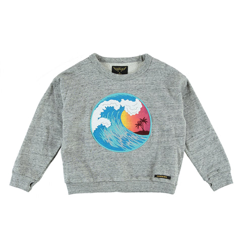 TURNER Heather Grey Wave - Girl Fleece Oversized Sweatshirt