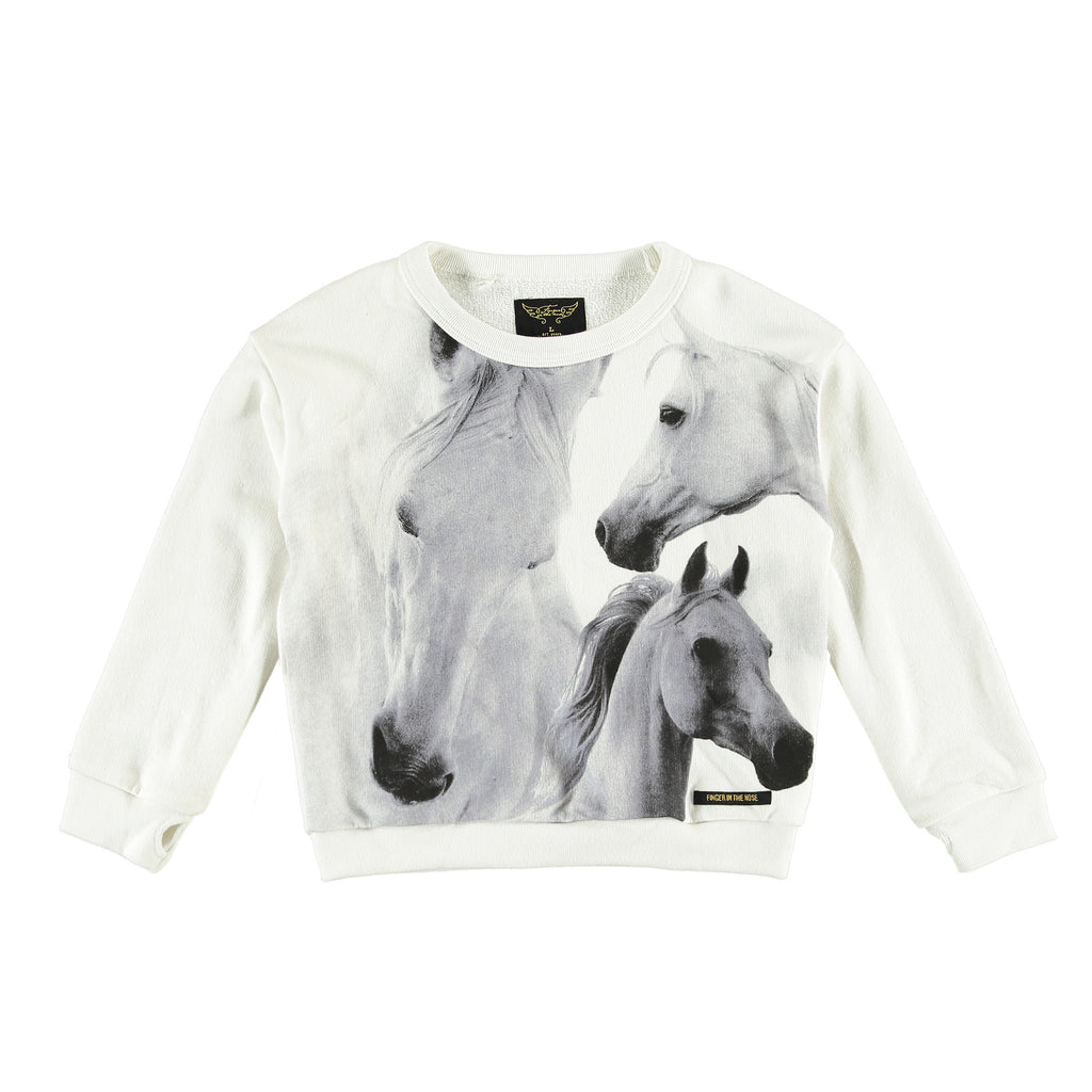 TURNER White Horses - Girl Fleece Oversized Sweatshirt
