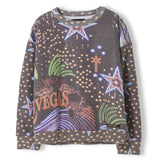 TURNER Black Vegas Neons - Girl Knitted Fleece Oversized Sweatshirt