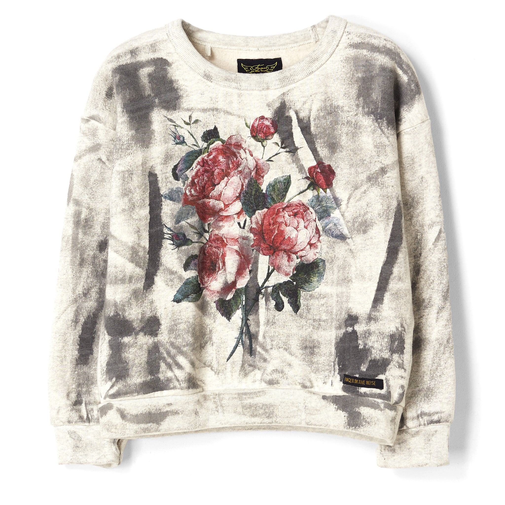 TURNER  Heather Ecru Dark Roses - Oversized Sweatshirt