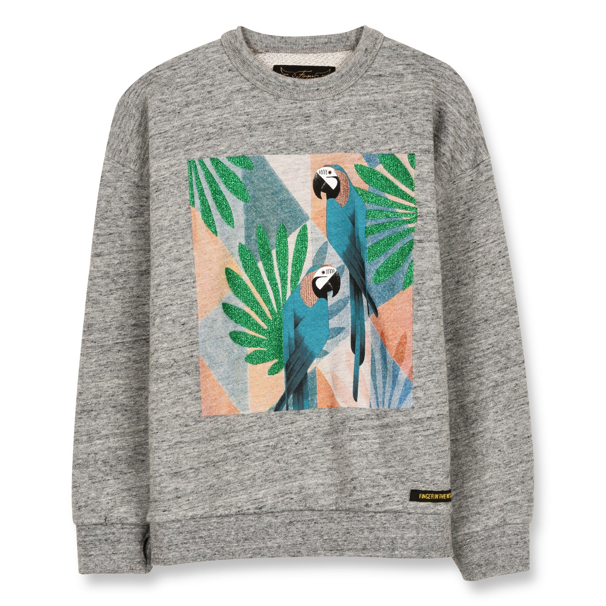 TURNER Heather Grey Parrots - Crew Neck Boyfriend Sweatshirt 1