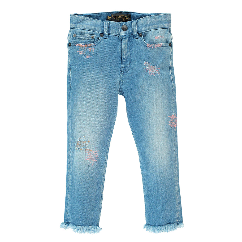 VANDETTA Bleached blue Repaired - 5 Pocket Cropped Fit Jeans