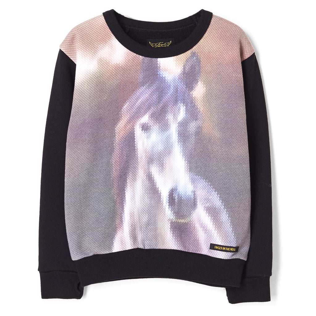 VIOLETTA Black Canvas Horse - Round Neck Sweatshirt