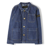WARREN Dark Blue Denim - Unisex Woven Multipocket Jacket 1