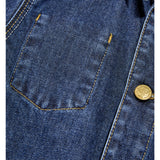 WARREN Dark Blue Denim - Unisex Woven Multipocket Jacket 6 js-nozoom