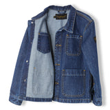 WARREN Dark Blue Denim - Unisex Woven Multipocket Jacket 5
