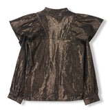 WINGS Bronze Metal Stripes -  Woven Flounced Long Sleeve Shirt 3