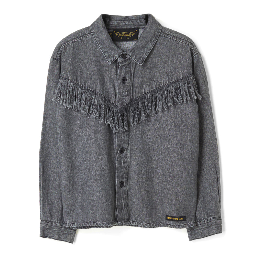 YELLA Black Denim Fringes - Loose Fit  Shirt