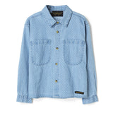 YELLA Blue Denim Dobby - Loose Fit  Shirt