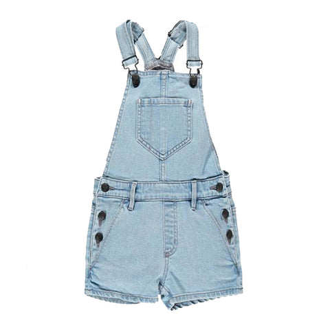 YUMI Bleached Blue - Girl Denim Shirt Overall