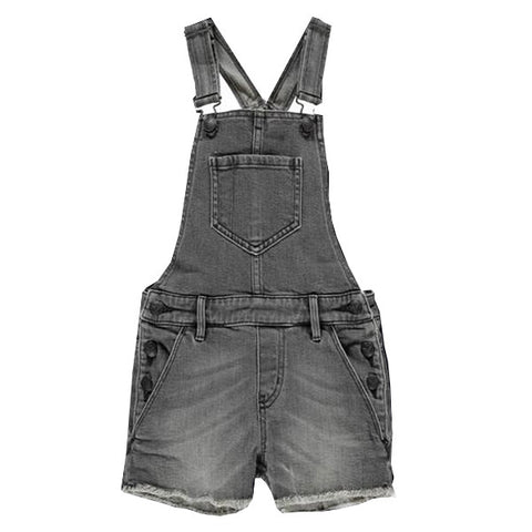 YUMI Grey Denim Fringes - Girl Denim Short Overall