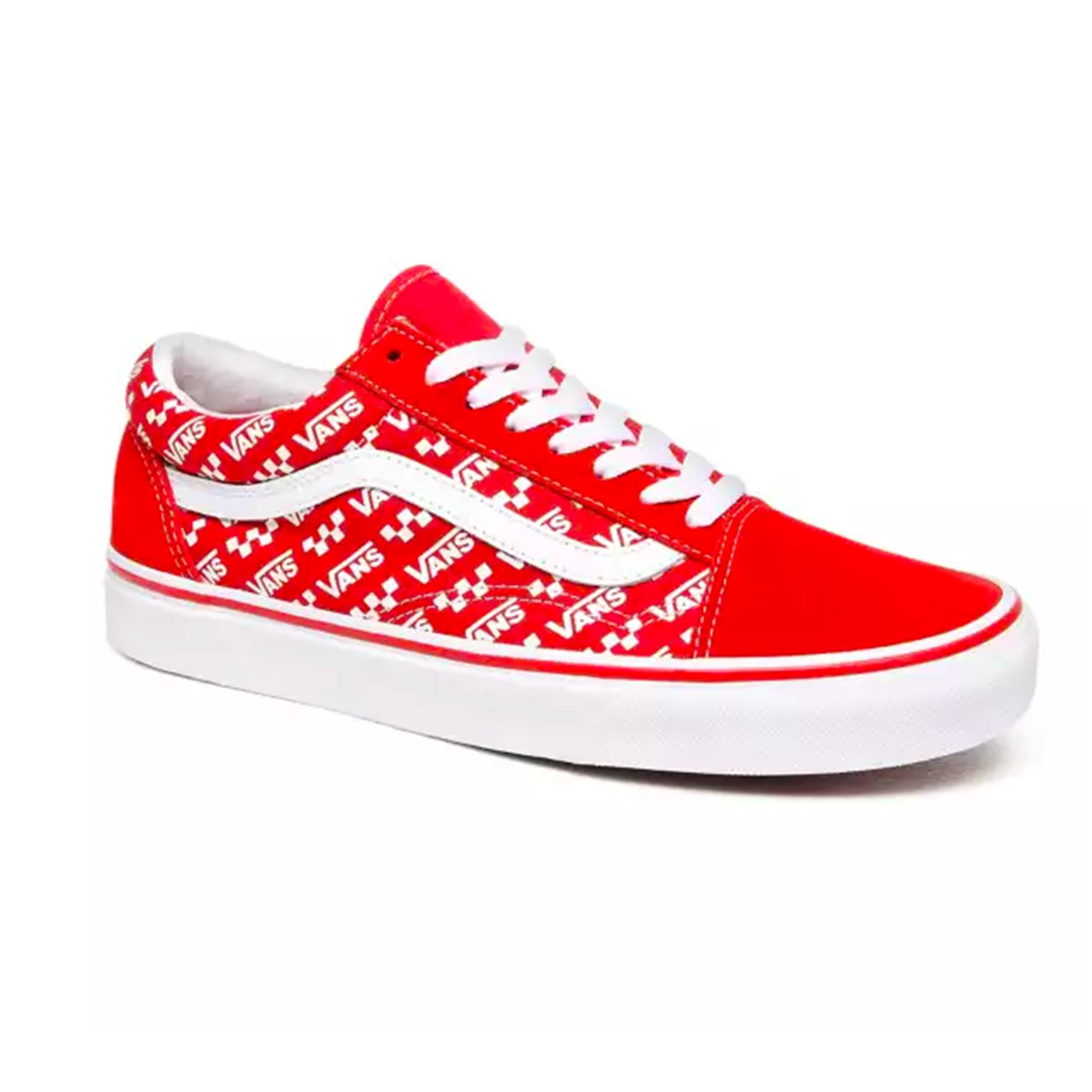 Vans Old Skool Logo Repeat Racing Red True White Finger In The Nose Free shipping on selected items. vans old skool logo repeat racing red true white