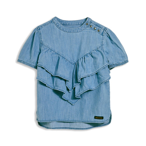 NANCY Bleached Blue - Short Sleeve Blouse
