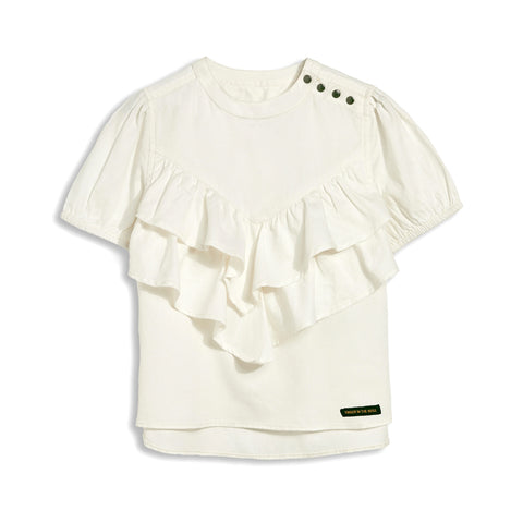 NANCY Off White - Short Sleeve Blouse