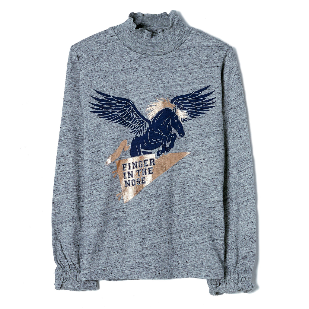 TEEROKO Heather Grey Pegasus - Hight Collar T-Shirt