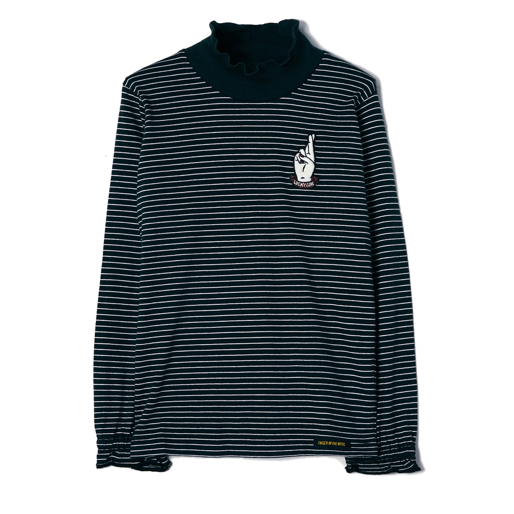 TEEROKO Ash Black Stripes - Hight Collar T-Shirt