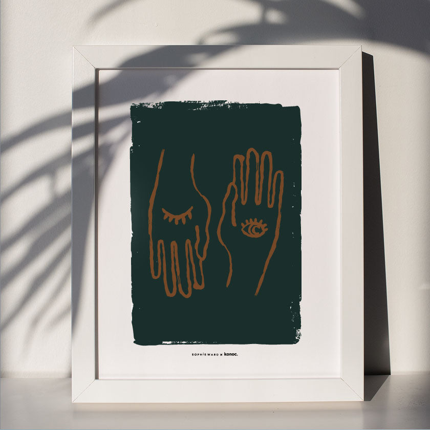 Hand to Eye Art Print - Green - Konoc X Sophie Ward Studio